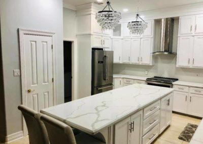 All White Elegant Kitchen Island Design