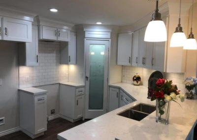 All White Kitchen Design with Pantry