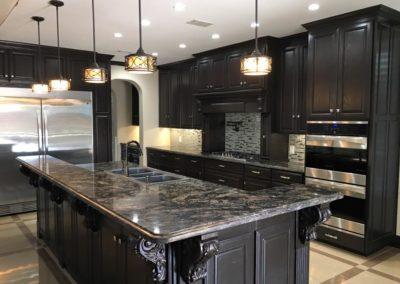 Dark Brown Cabinets Large Kitchen Rennovation in McAllen Texas