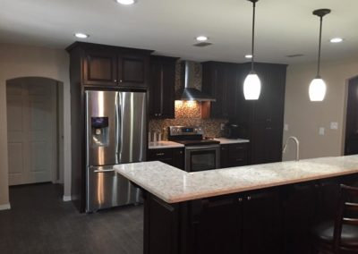 Dark Brown Cabinets with Bartop Kitchen Design and Renovation