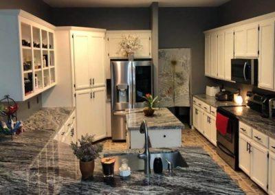 White Cabinets Grey Counter Top Kitchen Design